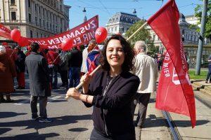 Delara Burkahrdt in Wien. Für ein soziales Europa.